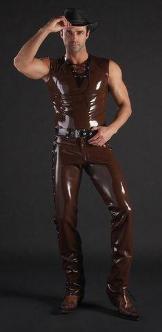 Shiny and sexy rubber cowboy outfit