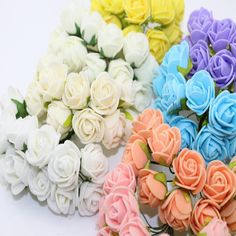 2 CM 144 pz Multicolor PE Rosa Schiuma Mini Artificiale Fiori Di Seta Bouquet Da Sposa di Colore Solido Fiori Decorativi Ghirlande Regalo 6Z