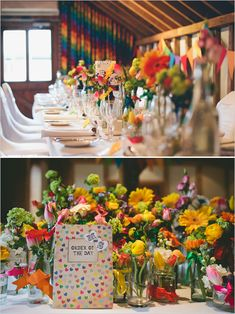 rainbow wedding. I love the rainbow cloth on the back wall