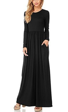 b7bb049cff8 cool MooliDa Women Long Sleeve Maxi Dress With Pockets Plain Loose Swing  Casual Long Dresses