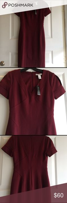 NWT WHBM Sheath Dress - Slit Sleeves This dress is amazing! Beautiful maroon color, structured, fitted but stretchy. White House Black Market Dresses