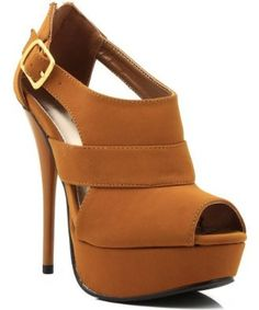 Qupid Dazzling-55 Cut-Out Peep Toe Bootie CAMEL (FREE SHIPPING on all add'l items)