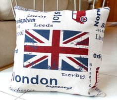 Union Jack Pillow Cover 16 x 16 inch - London Pillow Case - UK Decorative Pillow - Beige Red and Blue British Throw Pillow. $35.00, via Etsy.