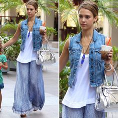 Maxi Skirts and Dresses with denim jackets | Jessica Alba Wearing Blue Printed Maxi Skirt