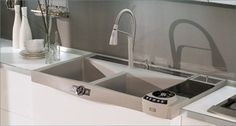 #cocinas Electrofregadero Wacher 120 con múltiples accesorios