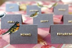 Place cards with alphabet pasta lettering