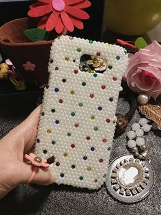 Bling Pearls New Lovely Fashion Mixed Sparkles Charms Glossy Jewelled Crystals Rhinestones Diamonds Gems Hard Cover Case for Mobile Phone