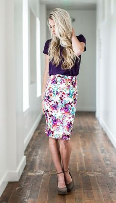 Floral Pencil Skirt - MSS17250