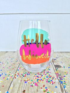 Hello Wine! | 20oz Stemless Wine Glass | Gold | Mommy's Sippy Cup | Adult Juice | Wine Lover | Mom | Bachelorette | Bridal Party | Gift