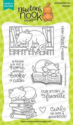 Newton's Book Club  4 x 6  | Cat and Books Stamp set | Newton's Nook Designs #newtonsnook