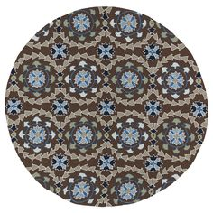 Fiesta Round Brown Indoor/ Outdoor Rug (5'9) | Overstock.com Shopping - Great Deals on Round/Oval/Square