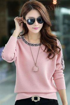 Black/Pink Bat Sleeve Loose Knitwear http://www.dressve.com/shop-11095503.html