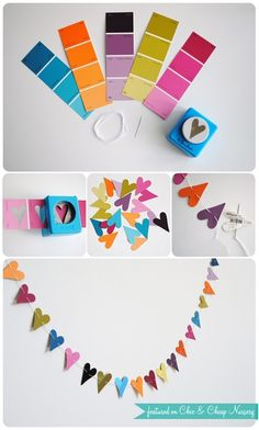 Easy Paper Punch Garland  What youll need:  thread, needle, paint color samples, paper punch any shape will do  you could also do something fun with the negative space--either cut apart the paint chip strips or leave them connected and decorate with them. They might make a cute notebook/journal cover.