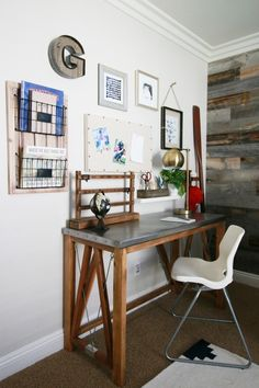 This DIY industrial desk might just be our favorite part of this One Room Challenge from A Thoughtful Place.