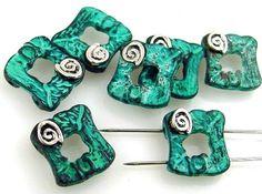 7 2 hole beads bead metal castings 10601