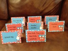Seuss Food Labels (I like Grinch Dip for ranch dip, the pink drink. Dr Seuss Birthday Party, Baby 1st Birthday, 1st Birthday Parties, Birthday Ideas, Dr Seuss Baby Shower, Baby Shower Gifts, Grinch Christmas Party, Food Labels, Reveal Parties