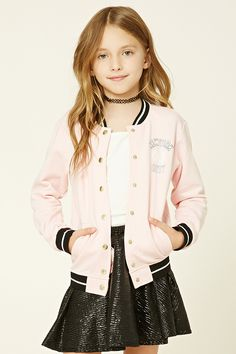 """Forever 21 Girls - A knit jacket featuring a button-front, two front slit pockets, contrast ribbed trim, A French terry lining, and a """"New York City 01"""" graphic."""