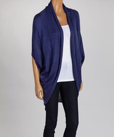 Another great find on #zulily! Blue Cape-Sleeve Open Cardigan - Women by J&X NY #zulilyfinds