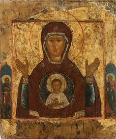 Detailed view: Virgin of the Sign- exhibited at the Temple Gallery, specialists in Russian icons Religious Icons, Religious Art, Russian Icons, Bible Pictures, Byzantine Icons, Icon Collection, Orthodox Icons, Sacred Art, Renaissance Art
