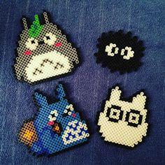 Totoro magnets perler beads by slycookie