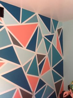 Diy Modern Wall Wall Paint Design Ideas With Tape For Girls - Tape Crazy Wall Room Wall Painting Bedroom Wall Designs Geometric Painted Wall Using Frog Tape And Valspar Paint Pink Grey Geometric Wall Paint Design. Bedroom Wall Designs, Accent Wall Bedroom, Bedroom Art, Teen Bedroom, Bedroom Ideas, Painted Bedroom Doors, Painted Doors, Geometric Wall Paint, Geometric Decor