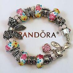 Pandora Charm Bracelet 7.1 Butterfly Love Pink European 3D Flower Lampwork Beads  | eBay