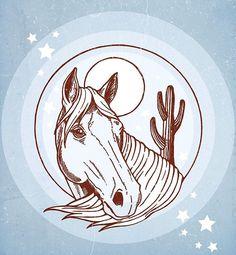 PONY GOLD / ILLUSTRATION / HORSE / MOON / CACTUS / SOUTHWESTERN