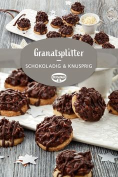 Garnet splits- Granatsplitter Pomegranate: Chocolate platters with chopped almonds - Chocolate Cookie Recipes, Peanut Butter Cookie Recipe, Chocolate Crinkle Cookies, Easy Cookie Recipes, Sugar Cookies Recipe, Snack Recipes, Dessert Recipes, Chocolate Biscuits, Bolo Cookies And Cream