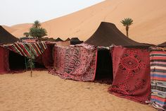 Africa    Berber Tent overnight accommodation for those taking part of a guided camel tour through the Sahara Desert.