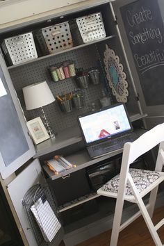 Plain Armoire into Office Space- or great kids room craft center