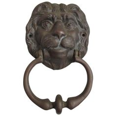 Hollywood Regency Lion Brass Door Knocker (£41) ❤ liked on Polyvore featuring home, home decor, decorative hardware, door knockers, brass lion head door knocker, solid brass door knocker, brass home decor, brass home accessories and brass door knocker