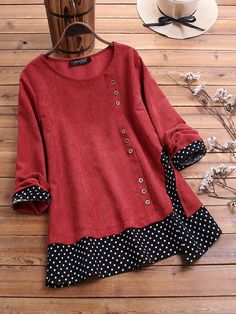 discount clothes Gracila Corduroy Polka Dot Patchwork Long Sleeve Blouse For Women Cheap - NewChic Mode Hippie, Mode Hijab, Mode Outfits, Looking For Women, Corduroy, Blouses For Women, Fashion Dresses, Fashion Clothes, Polka Dots