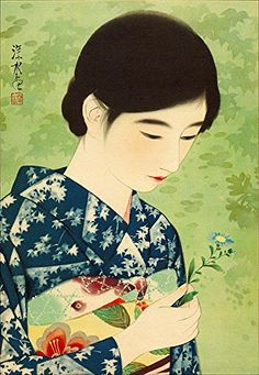 Ito Shinsui - No. 17 - Summer Flowers 100 Figures of Beauties Wearing Takasago Kimonos Japanese Prints, Japanese Art, Asian Image, Portraits, Poster Prints, Art Prints, Cool Art Drawings, Japanese Painting, Summer Flowers