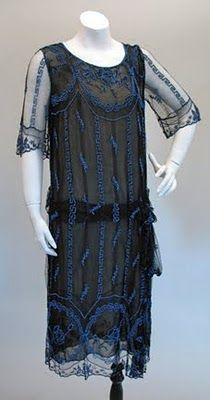 Elegant 1920s Black Lace and Blue Bead Evening Dress