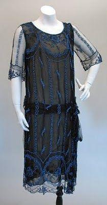 Elegant 1920s Black Lace and Blue Bead Evening Dress