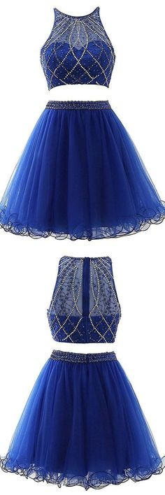 Original Royal Blue Two Piece Prom Dresses,A-line Scoop Neck Short Homecoming Dresses,Tulle Beading Formal Evening Gowns the top part looks like it could be a part of a figure skating dress if it just kinda faded into a solid blue color Mini Prom Dresses, Two Piece Homecoming Dress, Royal Blue Prom Dresses, Prom Dresses Two Piece, Dresses Short, Prom Dresses 2017, Dresses For Teens, Cute Dresses, Beautiful Dresses