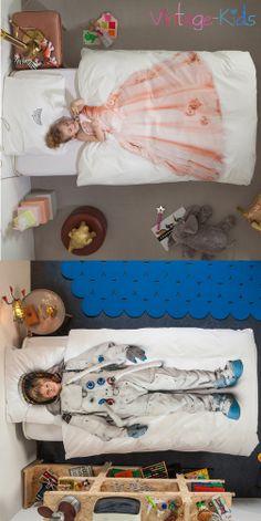 Kinderbettwäsche - Prinzessin und Astronaut