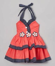 Look what I found on #zulily! Coral Triple Flower Halter Dress - Toddler & Girls #zulilyfinds