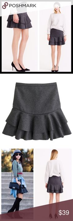 """j. crew // bonded wool flounce ruffle flare skirt The secret to this skirt's fun, flouncy shape is all in the fabric—we took a classic wool felt and bonded it to a superstructured knit. The result? A total stunner that holds its flare like a pro (and looks particularly awesome with tights and booties). Wool/viscose/poly. Back zip. Lined. Sits at waist. 17"""" long. In excellent preowned condition. J. Crew Skirts Circle & Skater"""
