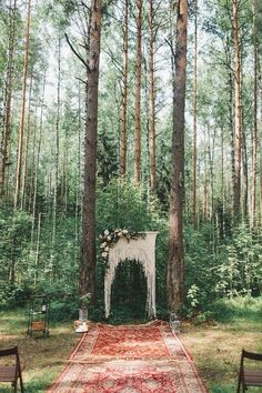 bohemian wedding boho wedding ceremony in the woods, rugs under alter with macrame alter decor Bohemian Wedding Decorations, Ceremony Decorations, Bohemian Weddings, Outdoor Weddings, Rustic Bohemian Wedding, Picnic Weddings, Wedding Picnic, Wedding Centerpieces, Bohemian Bridesmaid