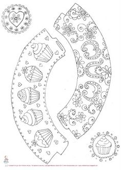 "Free colour-in cupcake wrappers/pick for Mother's Day (or cupcake girly decorating party?) by the talented ""lady"" from NeviePieCakes Colouring Pages, Free Coloring, 3d Templates, Mothers Day Cupcakes, Cupcake Art, Cupcake Cases, Cupcake Wrappers, Digi Stamps, Printable Paper"