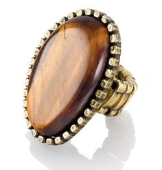 """Ring Me Up Stretch Ring  $16.00 - Fits many sizes! - A honey-colored tiger's eye stone has an earthy, boho-chic vibe that's very '70s cool. Set in burnished brass. Stretch band to fit a range of ring sizes. 1 1/2"""" H"""