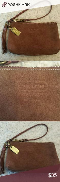 Coach Brown Suede Wristlet RARE Coach Brown Suede Wristlet,  Tag included,  wear on suede see pic,  Embossed logo on front. Coach  Bags Clutches & Wristlets