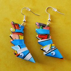 Quirky earrings handmade from colourful recycled books £7