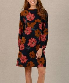 Black & Red Floral Shift Dress