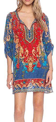 Women Bohemian Neck Tie Vintage Printed Ethnic Style Summer Shift Dress (Large, pattern 2) Urban CoCo http://www.amazon.com/dp/B0107M2C6A/ref=cm_sw_r_pi_dp_An..wb13N06KD