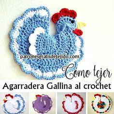 agarradera tejida al crochet con forma de gallina paso a paso