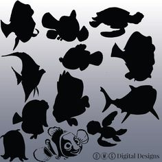 12 Finding Nemo Silhouette Clipart Images by OMGDIGITALDESIGNS