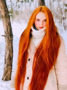 Luba | hairykrishna211 | Flickr Long Red Hair, Super Long Hair, Layered Cuts, Female Images, Turtle Neck, Long Hair Styles, Photo And Video, People, Photography