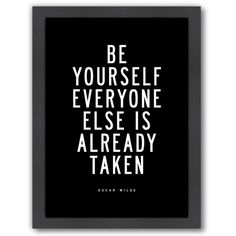 """Americanflat """"Be Yourself"""" Framed Wall Art ($69) ❤ liked on Polyvore featuring home, home decor, wall art, text, quotes, words, art, filler, phrase and saying"""
